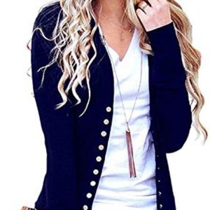 Women's Snap Front Cardigan, blue
